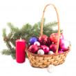 Basket and green branch — Stock Photo #1771196