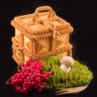 Stock Photo: Casket from straw mushroom white