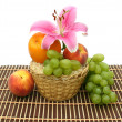 Fruit in a yellow basket - Stock Photo