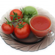 Stock Photo: Red tomatoes and green tomato