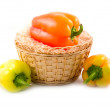Stock Photo: Sweet beautiful pepper in basket