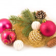 Gold tinsel with New Year's spheres — Stock Photo #1773088