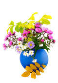 Autumn flowers in blue vase — Stock Photo