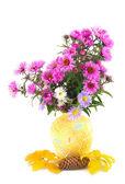 Autumn in yellow vase — Stock Photo