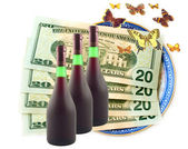 Butterflies fly dollars and wine — Stock Photo