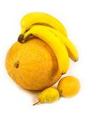 Duftend reife melonen mit obst — Stockfoto