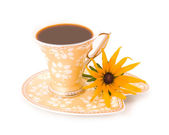 Camomile and beautiful cup from coffee — Stock Photo
