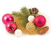 Gold tinsel with New Year's spheres — Stock Photo