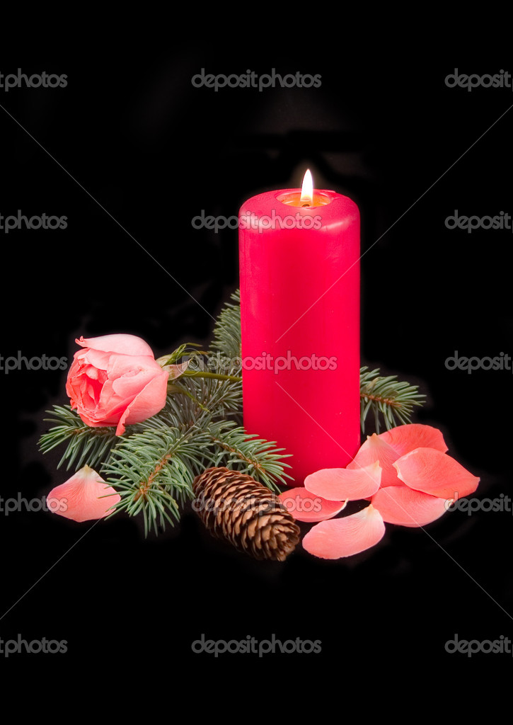 Candle red with flame and scarlet rose with petals on black background — Stock Photo #1771419