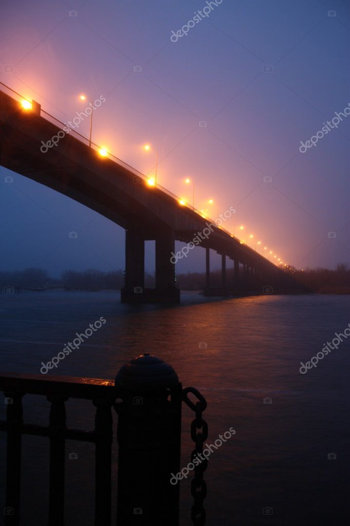 Illuminated bridge and river — Stock Photo #1779259