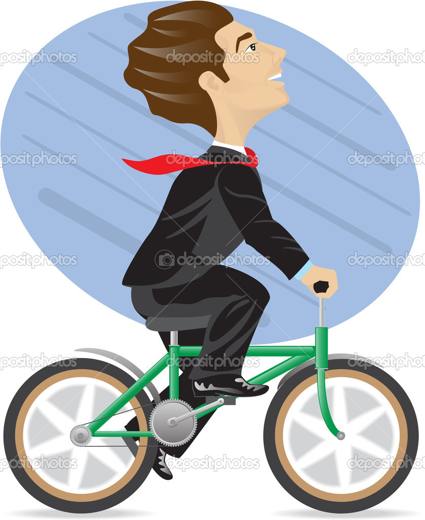 The businessman is riding the byke. Isolated on white. — Stock Vector #1726124