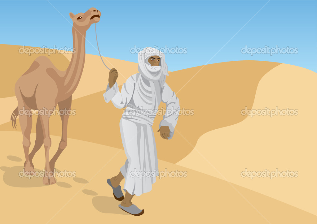 Bedouin with camel are walking through the desert — Stock Vector #1771013