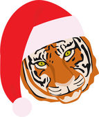Tiger in Christmas hat — Stock Vector