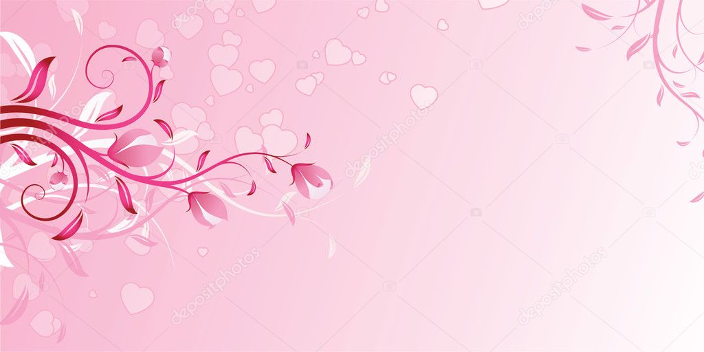 Valentine's Day Background with flowers in pink color — Stock Vector #1726526