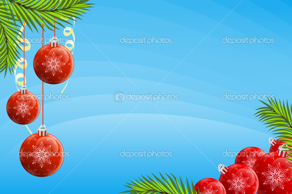 Abstract Christmas baubles with fir on blue background — Stock Vector #1726572