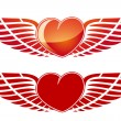 Valentine's Day Heart with wing — Stock Vector