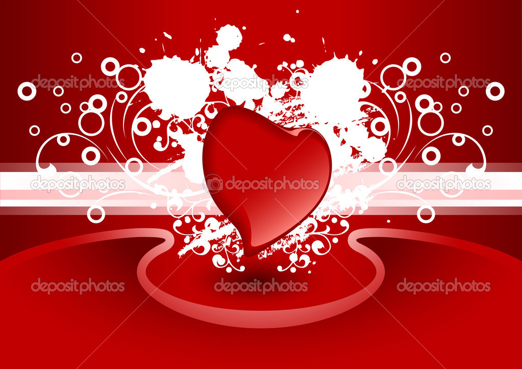 Creative Valentine greeting card with heart in red color, vector illustration  Stock Vector #1776339