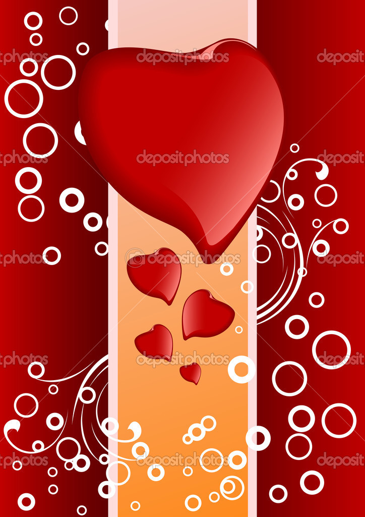 Creative Valentine greeting card with hearts and circles, vector illustration — Imagens vectoriais em stock #1776368