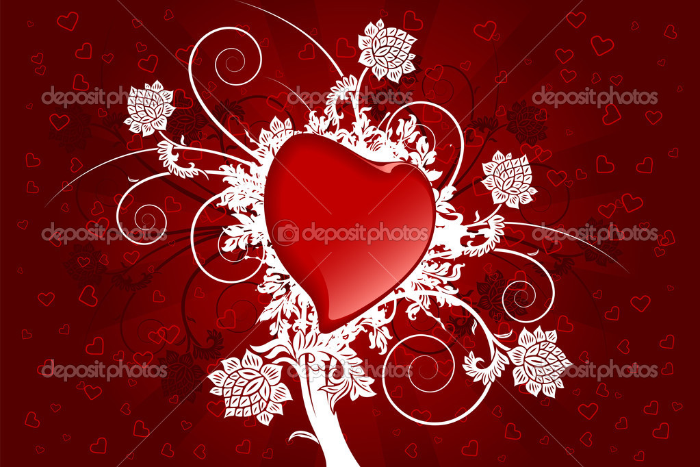 Abstract Valentine card with heart and flowers  Stock Vector #1776510