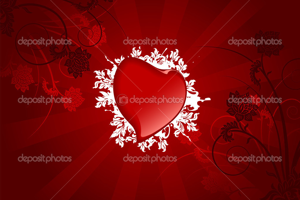 Abstract Valentine card with heart and flowers — Vektorgrafik #1776525