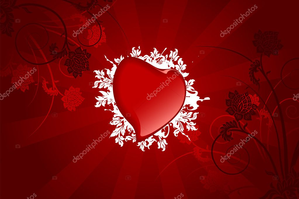Abstract Valentine card with heart and flowers — Stock Vector #1776525