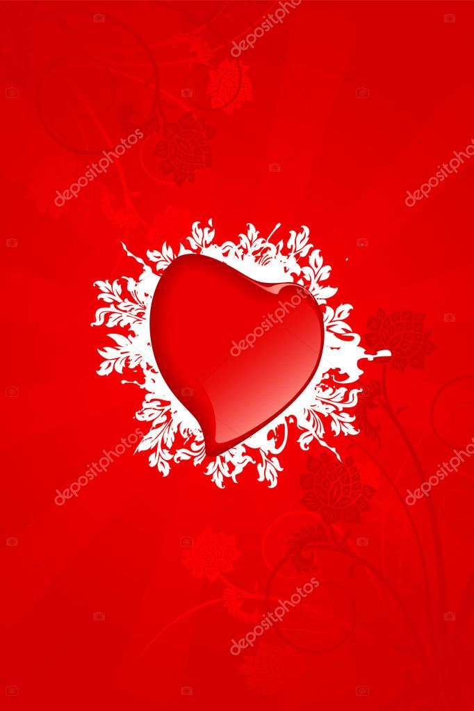 Abstract Valentine card with heart and flowers — Vektorgrafik #1776543