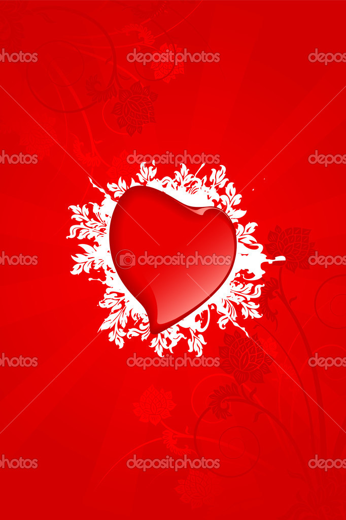 Abstract Valentine card with heart and flowers — Imagen vectorial #1776543