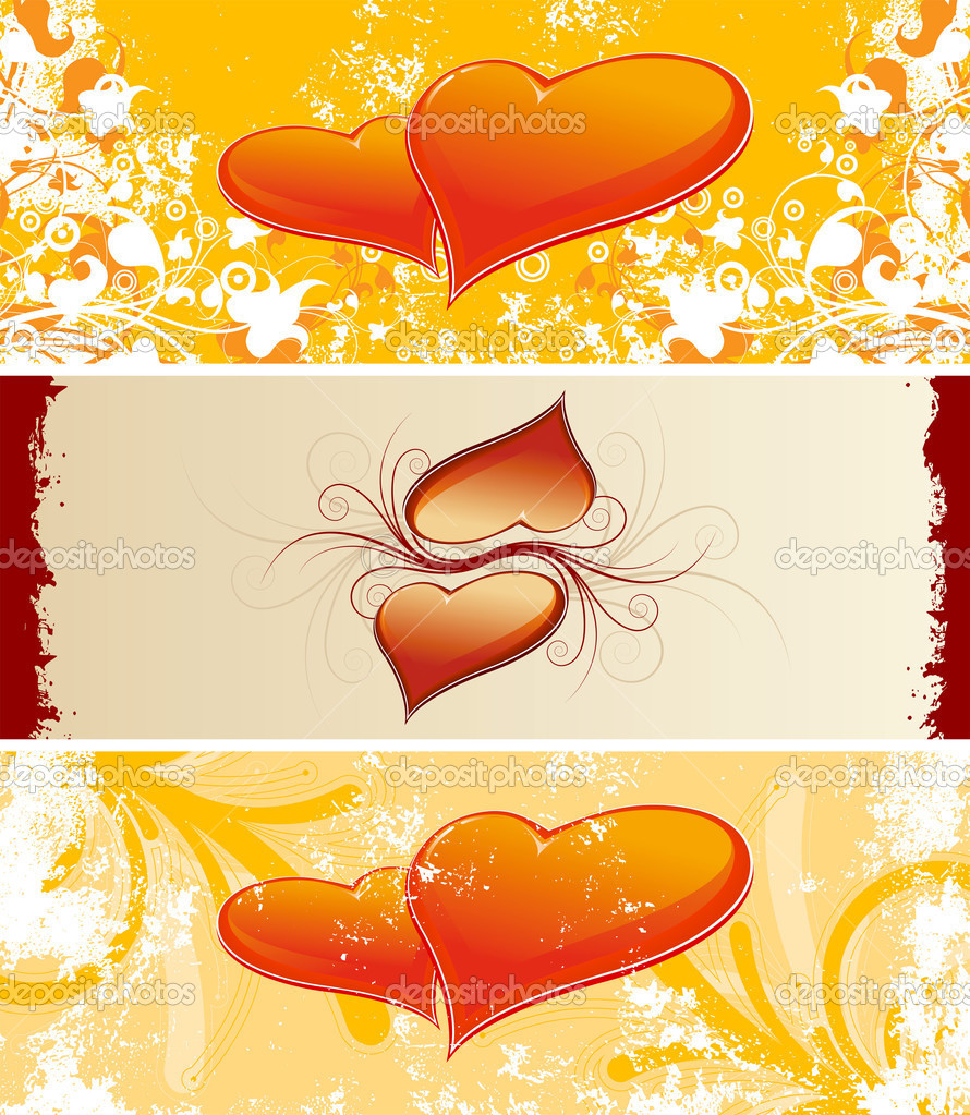 Color Saint Valentine's banners with flowers and heart shapes — Stock Vector #1776977