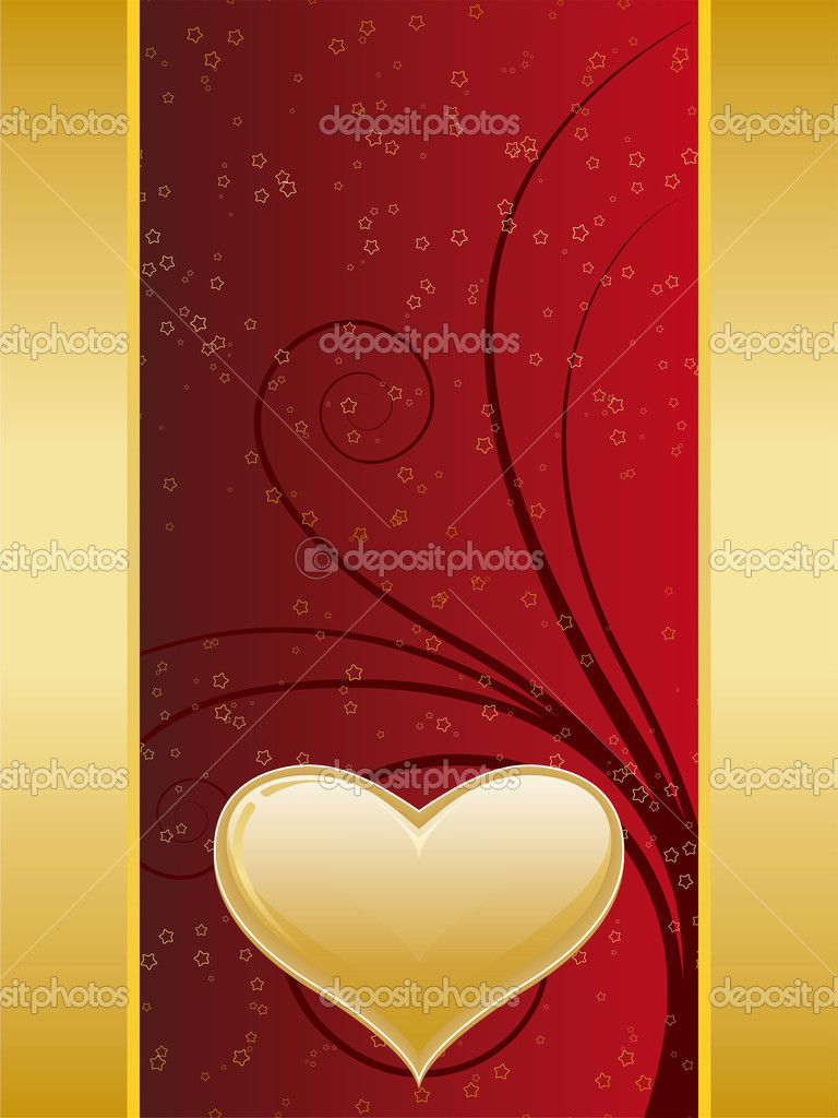 Valentine card with gold decoration and heart shape — Stock Vector #1776990