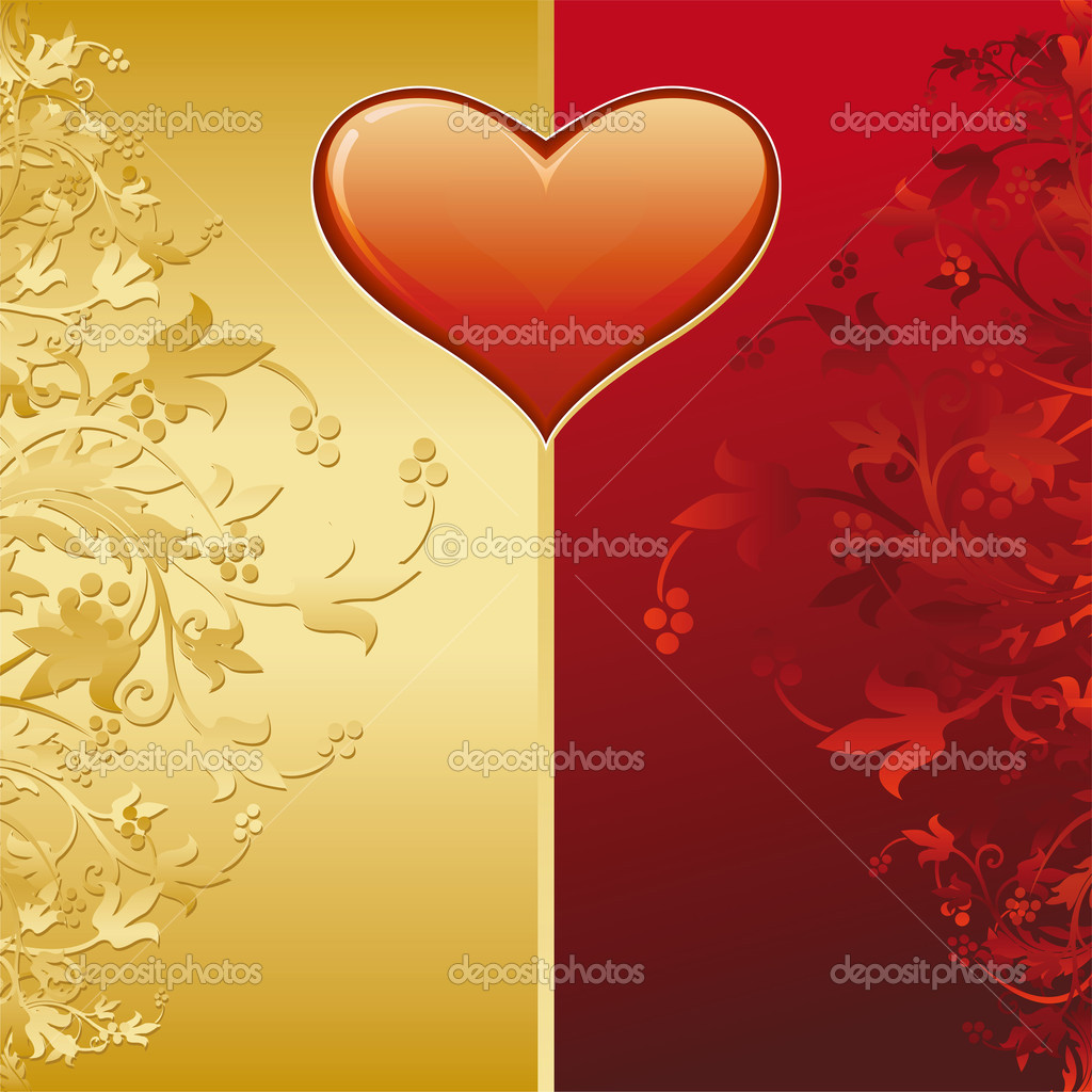 Valentine card with gold decoration and heart shape — Stock Vector #1777016