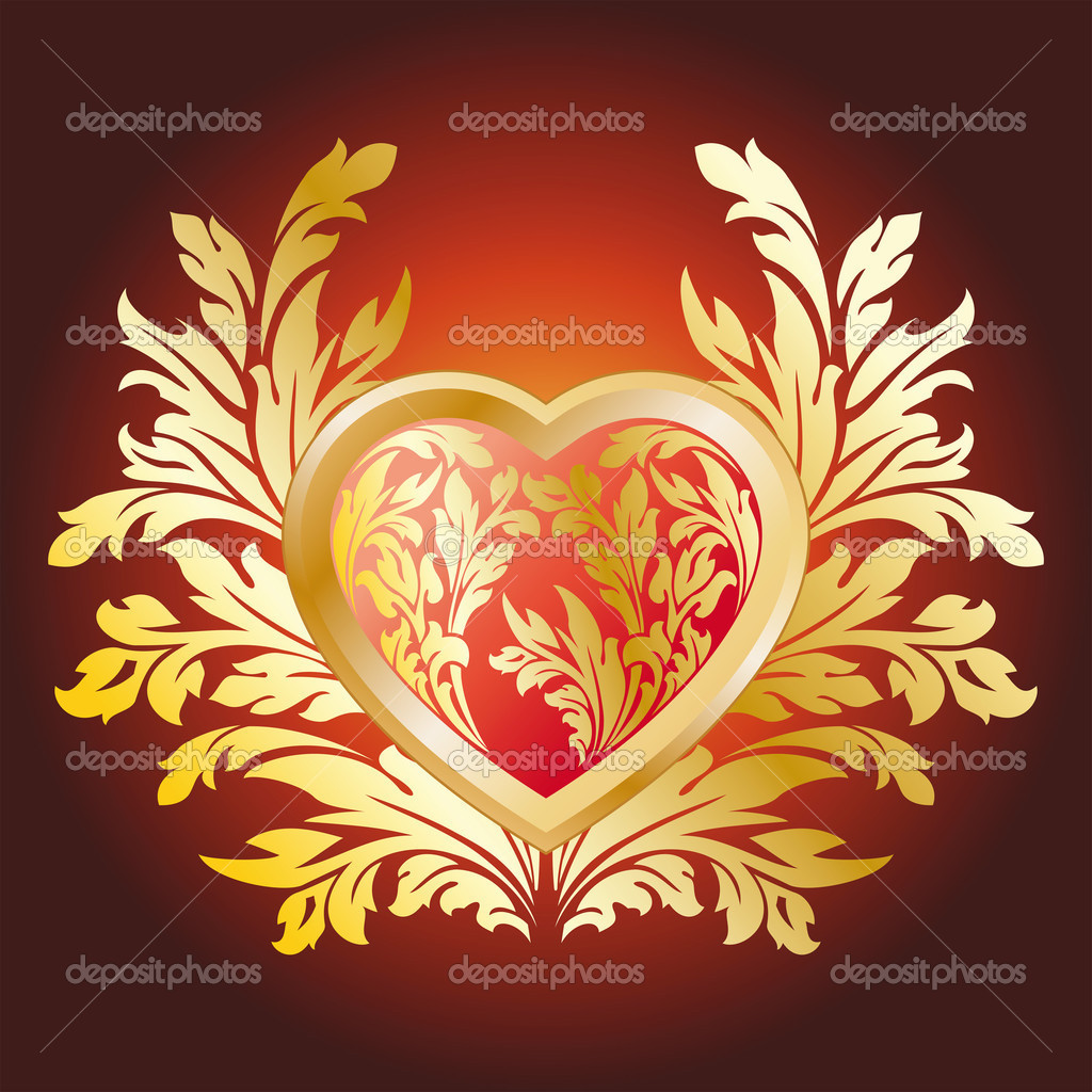 Abstract Stylized Valentines Day Heart with florals — Stock Vector #1777241