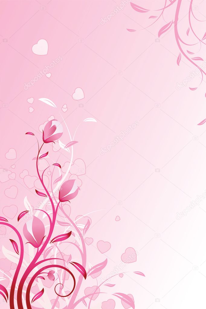 Valentine's Day Background with flowers in pink color — Stock Vector #1777358