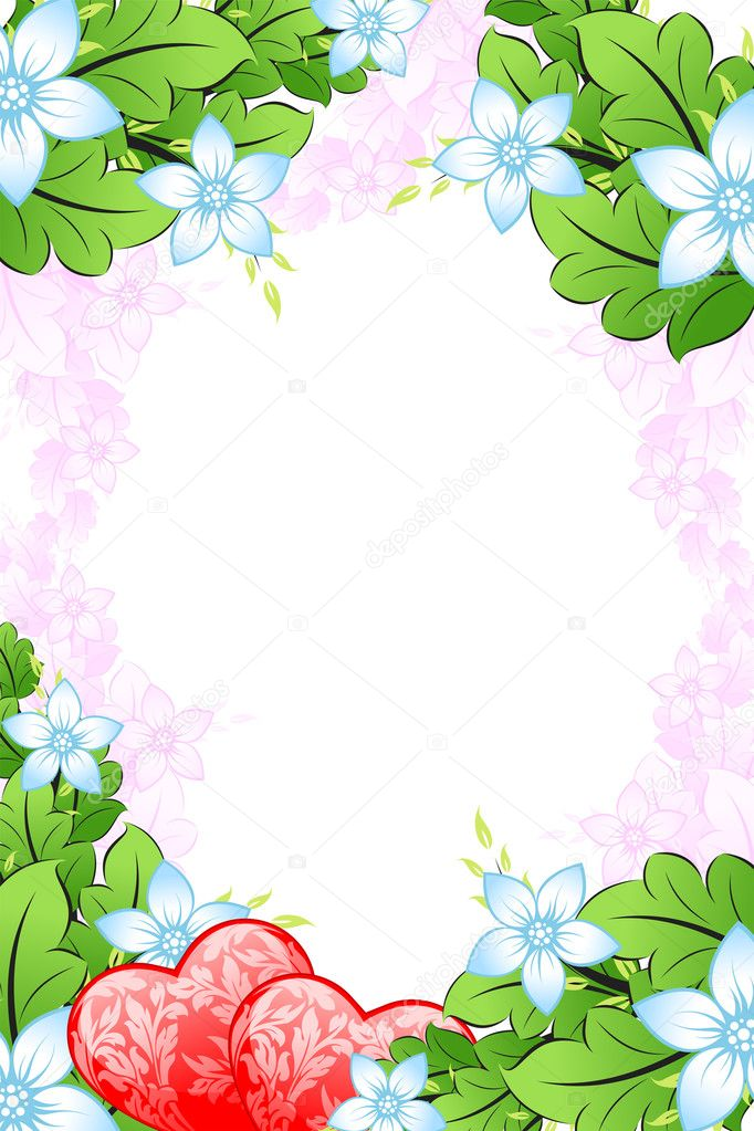 Valentine's Day heart with florals on white background  Stock Vector #1777421
