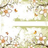 Grunge floral ruimte voor tekst — Stockvector