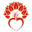 Abstract heart tree icon logo — 图库矢量图片