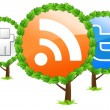 Social media trees icon - Stock Vector