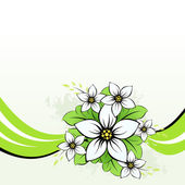 Flower with green wave — Stock Vector