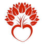 Abstract heart tree icon logo — ストックベクタ