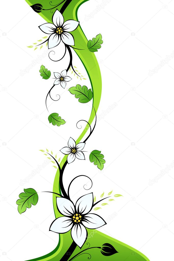 Summer flowers with leaves isolated on white background — Stock Vector #1830027