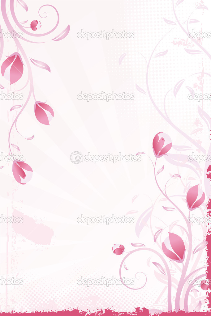 Abstract grunge pink background with flowers and leaves — Stock Vector #1830491