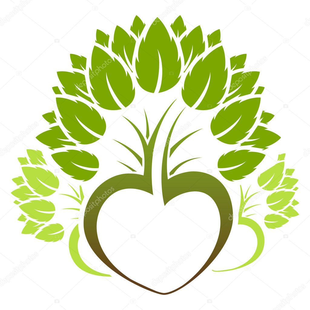 Abstract green heart tree icon logo — Stock Vector #1830705