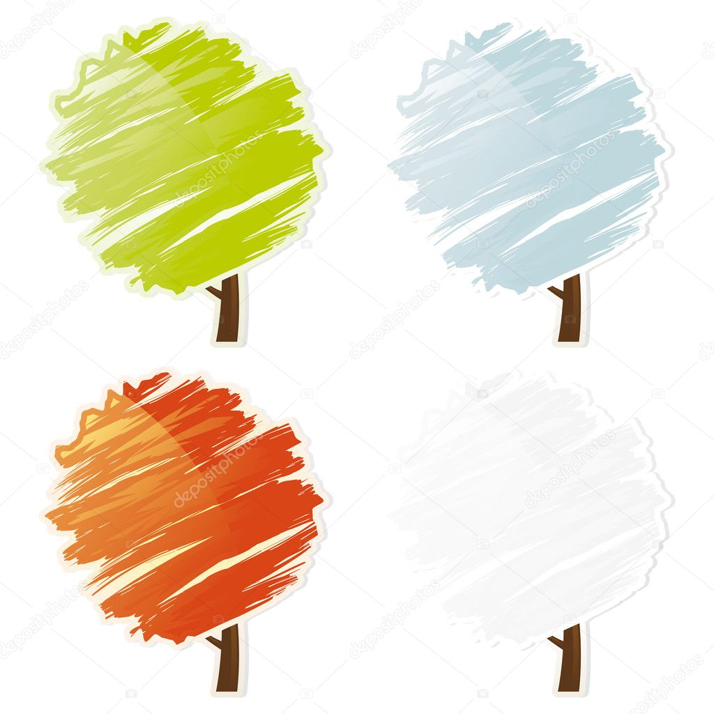 Four color abstract tree icon set isolated on white  Stock Vector #1830769