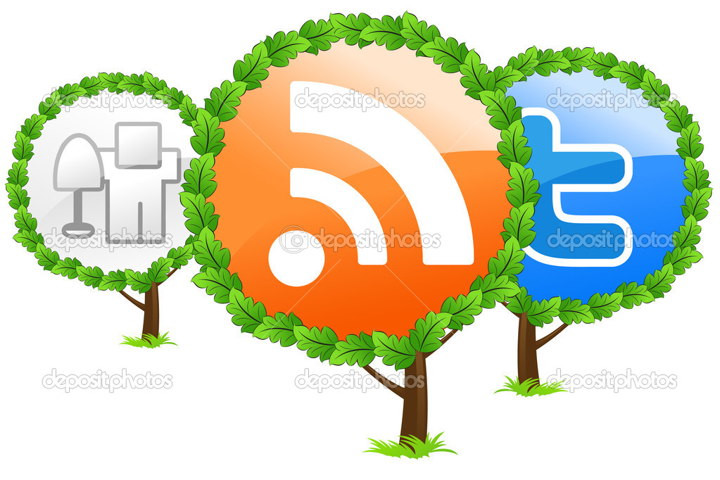 Social media trees icon isolated on white — Stock Vector #1830889