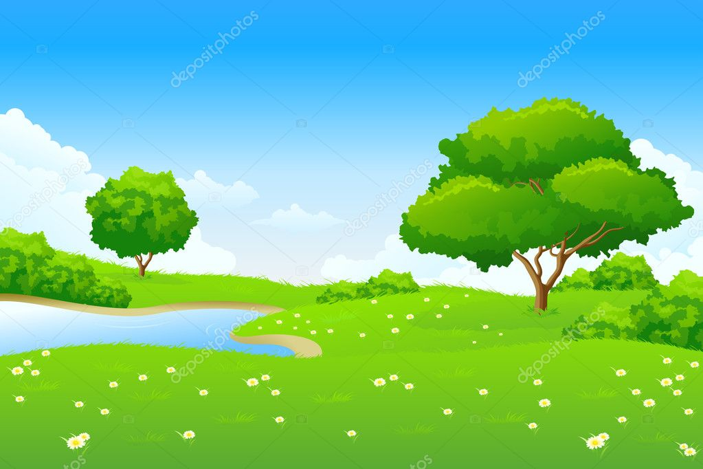 Green landscape with lake trees and clouds — Stock Vector #2098782