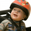 The small child in a bicycle helmet — Stock Photo