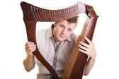Man with harp — Stock Photo
