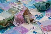 Polish money on background of euro — Stock Photo