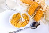 Cornflakes bij het ontbijt — Stockfoto