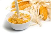 Corn flakes served with fresh milk — Stock Photo