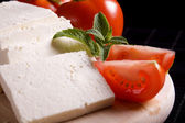 Slices of fresh white cheese — Stockfoto